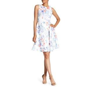 CALVIN KLEIN scuba fit & flare floral print dress